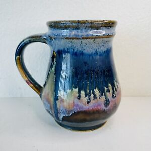 VTG Hand Thrown Artisan Pottery Mug Cup Rustic Earth Volcano Blue Tones Signed