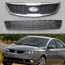 Set Front Hood Radiator Grille Grill Kits Upper & Lower For Kia Forte 2011-2013