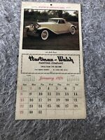 Vintage 1978  Auto Calendar Of Antique Automobiles Hartman-Walsh