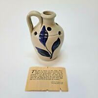 WILLIAMSBURG Pottery Bud Vase Flower Frog Hand Carved Cobalt Salt Glazed