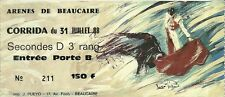 RARE / TICKET BILLET SPECTACLE - CORRIDA A BEAUCAIRE - FRANCE 1988 / TAUROMACHIE