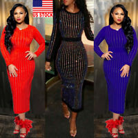 US Women Bandage Bodycon Long Sleeve Evening Party Cocktail Club Midi Slim Dress