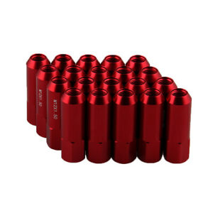"(20) 12x1.5 Red 60mm Extended Lug Nuts (2.4"") Tuner Racing Cone Seat Open End"