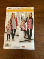 """Simplicity 1333 A Sz 3-8 XS-XL Childs & Misses Tunic & Leggings 18"""" Doll Pattern"""