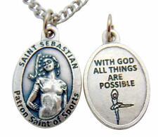 One St Sebastian Ballet Medal Silver Tone Metal Safe Sports Saint Gift w/ Chain