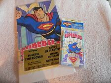 Superman Table Cloth and Package Of Superman Invitations New 1996