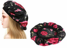 Satin Night Sleep Cap Hair Bonnet Hat Head Cover Wide Elastic Band Women NEW US