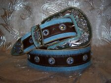 Western Blue and Brown Leatherock Belt Made with Swarovski Lt Sapphire Crystals
