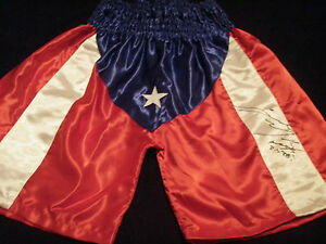 ANGEL MANFREDY AUTOGRAPHED SIGNED PUERTO RICO FLAG BOXING TRUNKS ADULT L