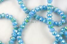 "16"" Str. 8mm Chinese Crystal Glass Beads Faceted Rondelle Sky Blue Mixed Agates"