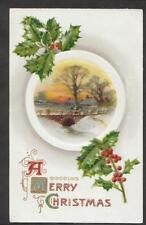1910 Winsch back walking over the bridge Christmas postcard
