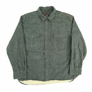 Vintage Heavy Flannel Shirt Green XL Long Sleeve