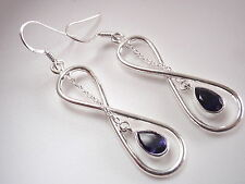 Faceted Iolite Infinity 925 Sterling Silver Earrings Signifies Endless Love