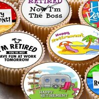 24 Edible cake toppers cupcake decorations Happy retirement retired leaving work