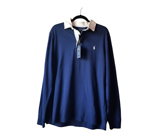 Men's Polo by Ralph Lauren The Iconic Rugby Shirt Dark French Navy Size L NEW