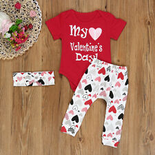 3PCS Infant Baby Boy Girl Clothes Romper Pants Headband Valentine's Outfits Set