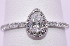 Pear Shape Diamond Engagement Ring with Halo in 18K White Gold