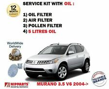 FOR NISSAN MURANO 3.5 V6 2004-2008 OIL AIR POLLEN FILTER + 5W-30 5LITRES OIL KIT