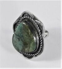 Turquoise Nugget Ring - Size 9 Unsigned - Sterling Silver Large Green Royston