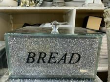 XL Silver Crushed Diamond Crystal Mirrored Bread Bin Container, Kitchen Bling