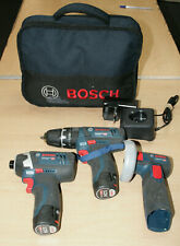 Bosch GSB 12V Cordless Combi Drill / Impact Driver / Angle Grinder - Triple Pack