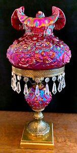 Fenton Red Carnival Glass Poppy Lamp