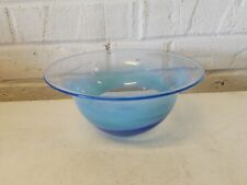 Vintage Blue Swirl Art Glass Bowl with Flared Rim Signed G.W. 1973
