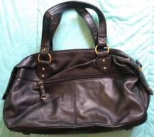 Worthington Black Genuine Leather Purse Gold Hardware Handbag Tassel Paisley