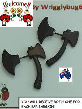 BRAND NEW 2 X BLACK AXE EAR STUDS! AWESOME PRODUCT! GOTH,PUNK AUS SELLER 101W