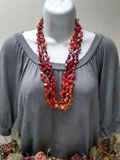 Beautiful Wood Disc Beaded Necklace FREE SHIP