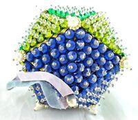 Beaded Xmas Ornament Vtg OOAK Handmade Triangular Multi Sided Blue Green Unique