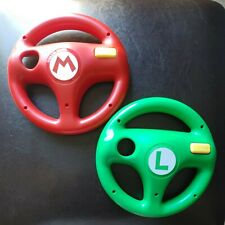 HORI Nintendo Wii Wii U Mario Kart Steering Wheels Mario and Luigi Green Red EUC