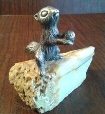 Squirrel Figurine Marvin Wernick Pewter & Quartz Sculpture Vintage Art 1974