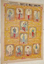 RARE AFFICHETTE ORIGINALE CHROMO PUBLICITE 1895-1910 CAFE MALT KNEIPP CONSCRIT