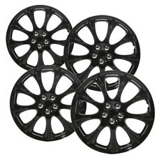 "4 Pc Set of 15"" Ice Black Hub Caps Full Lug Skin Rim Cover for Oem Steel Wheels"