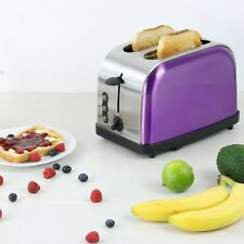 Amethyst Purple 900W 2 Two Slice Wide Slot Toaster Quick Toast Defrost Reheat