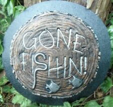 """Gone Fishin stepping stone mold plaster concrete mould 9"""" x 1.5"""" thick"""