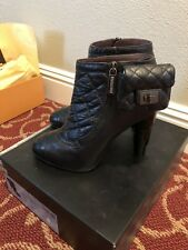 CHANEL BLACK QUILTED LEATHER BOOTIES SHORT BOOTS HEELS SHOES