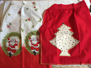 2 Vintage Christmas Apron Kitschy MCM 50s 60s Holiday Handmade