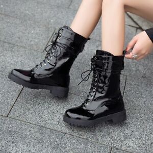 Womens Flat Shoes Ankle Boots Lace Up Patent Leather Motorcycle Biker Boots Shoe