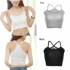 Strappy Cami T-Shirt Sleeveless Camisole Short Blouse Tank Tops Vest