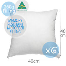 6 X Aus Made Cushion Inserts Polyester Fibre 40x40cm