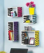 Colorful Animal Print Zebra Storage Cube Wild Wooden Wall Shelf Display Decor