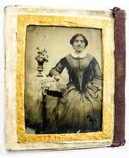Ambrotype 1/4 de plaque Français ancien vers 1850-80 portrait femme