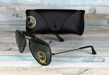 RAY BAN RB3422Q 9040 Aviator Craft Leather Black Green 58 mm Men's Sunglasses