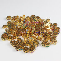 5pcs Czech Crystal Gold Charm Beads Clips Locks Stoppers for European Bracelet