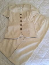 Ladies Hand Made Vintage Fully Lined Jacquard textured Jacket and Skirt Size 12