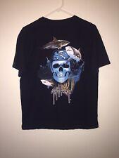 Guy Harvey Black Skull & Shark Men's T Shirt w/Pocket Sz Medium