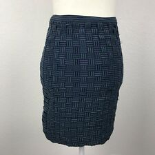 Band of Outsiders Blue Green Knit Polyester Rubber Blend Suspender Skirt  Sz 1