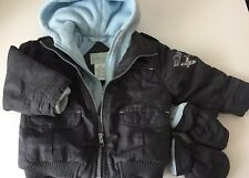 Le Petit Rothschild 18m Boy Jacket w Gloves grey blue plane